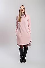 Mikiny - Teplákové mikino-šaty růžové - 12860497_