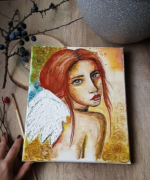 Anjel nádeje - akvarel na plátne