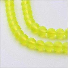 Korálky - Matné sklenené korálky 6 mm, 1 ks (neónovo žlté) - 12861236_