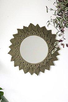Zrkadlá - Makramé zrkadlo // Lipa (Zelená) - 12863132_