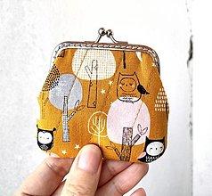 Peňaženky - Peňaženka mini Sovy a stromy - 12860494_