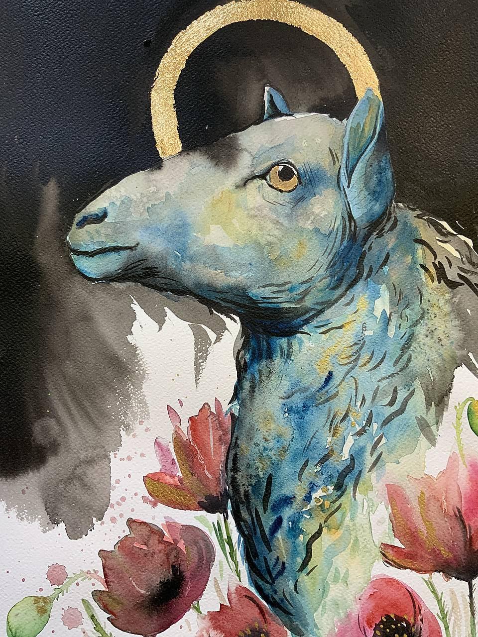 Originálna maľba-Čierna ovca