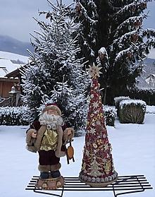Dekorácie - Vianočný stromček bordová+ zlatá - 12864102_