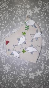 Rúška - Dámske rúško Vtáčiky s antibakteriálnou bavlnou - 12867385_