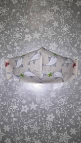 Rúška - Dámske rúško Vtáčiky s antibakteriálnou bavlnou - 12867404_