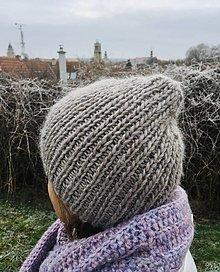 Čiapky - Zimná trendy čiapka. (Šedobéžová) - 12864854_