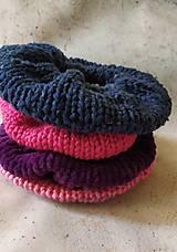 Ozdoby do vlasov - Scrunchie, pletená gumička,modro-petrolejový twied - 12864559_