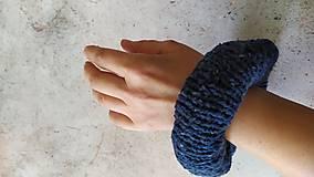 Ozdoby do vlasov - Scrunchie, pletená gumička,modro-petrolejový twied - 12864564_