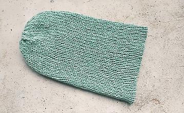 Čiapky - Pletená dvojvrstvová čiapka modro-zelená - 12867422_