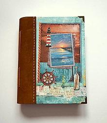 Papiernictvo - Ručne šitý zápisník * sketchbook A5 s koženým chrbtom - 12864658_