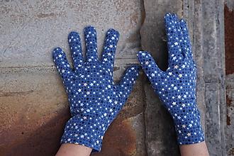 Rukavice - Rukavičky modré, drobné hviezdičky - 12866429_