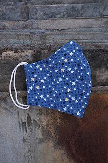 Rúška - Rúško modré, drobné hviezdičky - 12866532_