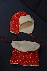 Detské čiapky - - 70% zimný set červený bodkový - 12867432_