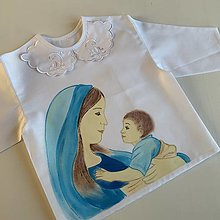 Detské oblečenie - Maľovaná krstná košieľka s bábätkom a Pannou Máriou - 12864964_