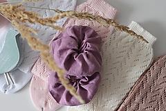 Ozdoby do vlasov - Ľanová gumička - scrunchie - 12866674_
