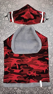 Rúška - Set nákrčník a rúško Červený maskáč - 12868464_