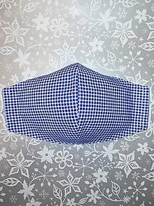 Rúška - Pánske rúško Modrá kocka s antibakteriálnou bavlnou - 12869899_