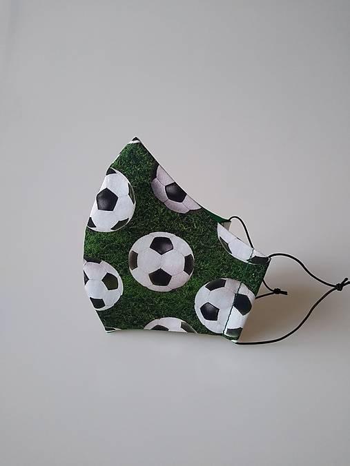Dizajnové rúško futb. lopty zelené  tvarované dvojvrstvové