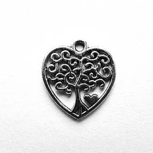 Komponenty - Kovový prívesok-srdce 17x18mm-1ks - 12871838_