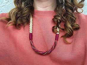 Náhrdelníky - Béžové lano a bordo šňůrky - 12870285_