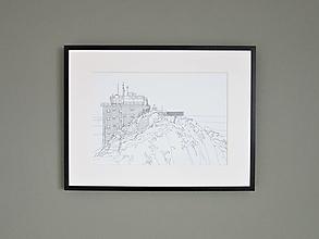 Grafika - Lomnický štít ČB (print) - 12870631_