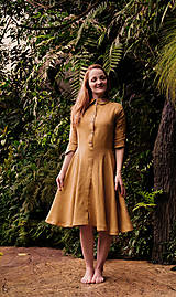 Šaty - RITA lněné šaty (Karamelová) - 12868921_