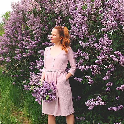 Šaty - LIDIA mušelínové šaty (Pudrová růž) - 12869856_