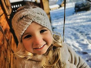 Detské čiapky - Čelenka twist šedá - neskutočne hrejivá alpaka - 12869289_