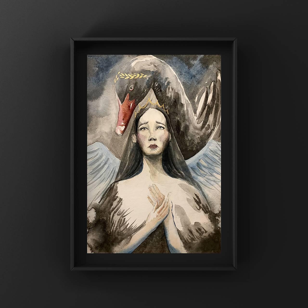 Originálna maľba-Čierna labuť