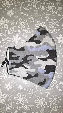 Rúška - Pánske rúško Sivomodrý maskáč s antibakteriálnou bavlnou - 12876321_