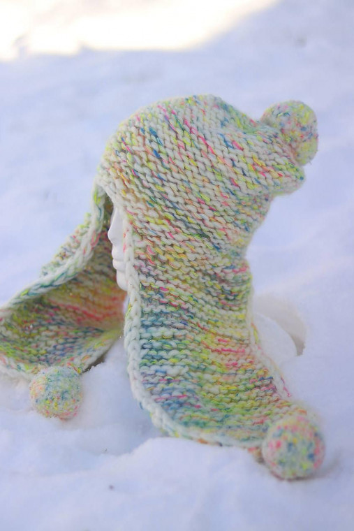 Hrubá pletená vlnená čiapka basetka extra