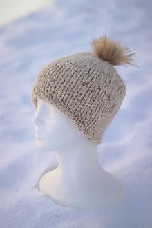 Čiapky - Hrubá pletená vlnená čiapka - 12874374_