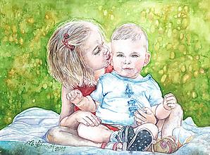 Obrazy - Akvarelový obraz na želanie - Detský portrét - 12873173_