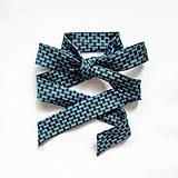 Náhrdelníky - Mašľa viazacia modro-čierna vzorovaná - 12874189_