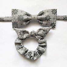 Doplnky - Sivý set - motýlik & gumička - 12874199_