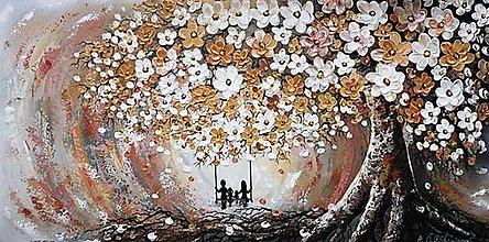 Obrazy - Rodinný strom, so zlato-medeným kovovým efektom - 12875180_