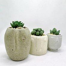 Nádoby - Sada kvetináčov s betónovými kaktusmi Tváre - 12873963_