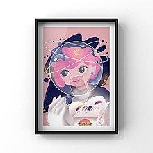 Obrazy - Print-kozmonautka - 12875607_