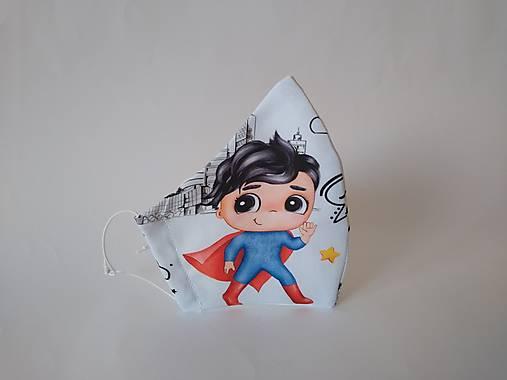 Dizajnové rúško super chlapec výberová bavlna dvojvrstvové tvarované