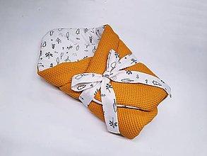 Textil - Zavinovačka čierne stromčeky na bielom + žltá vafľa - 12879691_