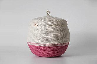 Košíky - Provazový košík růžový s pokličkou - 12880445_