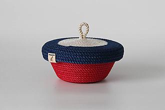 Košíky - Provazový košíček červenomodrý s pokličkou - 12880503_