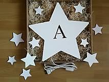 Detské doplnky - Detská drevená lampa - Hviezda s iniciálou - 12878822_