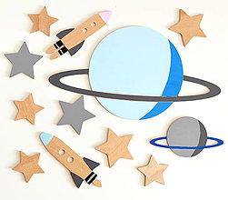 Detské doplnky - SADY drevených dekorácií na stenu - vesmír, obloha (Sada VESMÍR 1) - 12878386_