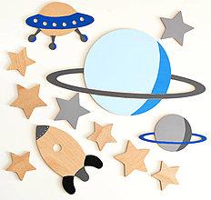 Detské doplnky - SADY drevených dekorácií na stenu - vesmír, obloha (Sada VESMÍR 2) - 12878404_