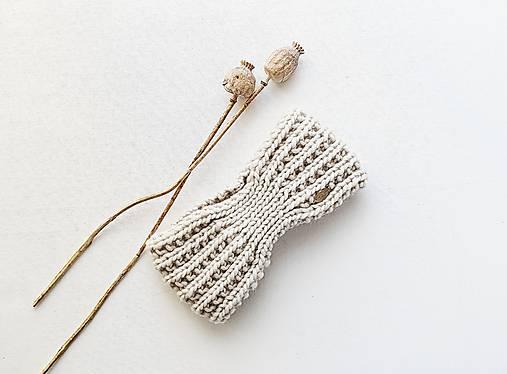Čiapky - Ručne pletená vlnená čelenka III - odtiene hnedej (Kriedová (88)) - 12877917_