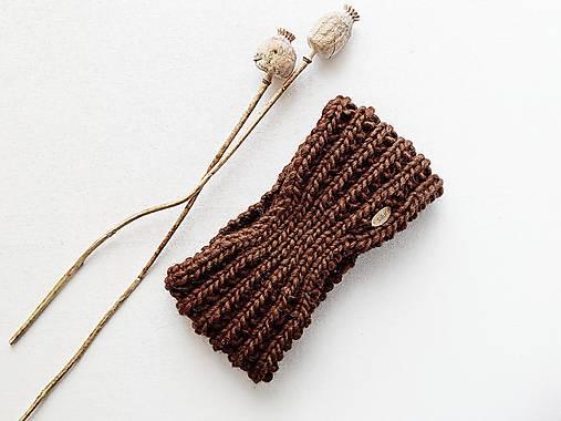 Čiapky - Ručne pletená vlnená čelenka III - odtiene hnedej (Hnedá (90)) - 12877940_