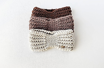 Čiapky - Ručne pletená vlnená čelenka III - odtiene hnedej - 12877911_