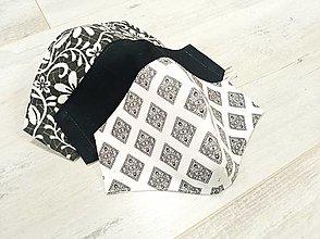 Rúška - AKCIA!Sada! Dámske rúška 3 kusy čierno biele s antibakteriálnou bavlnou - 12878850_