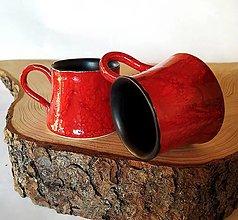 Nádoby - Keramická šálka - červená - 12880117_